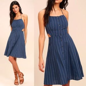ASTR blue button front cutout midi dress